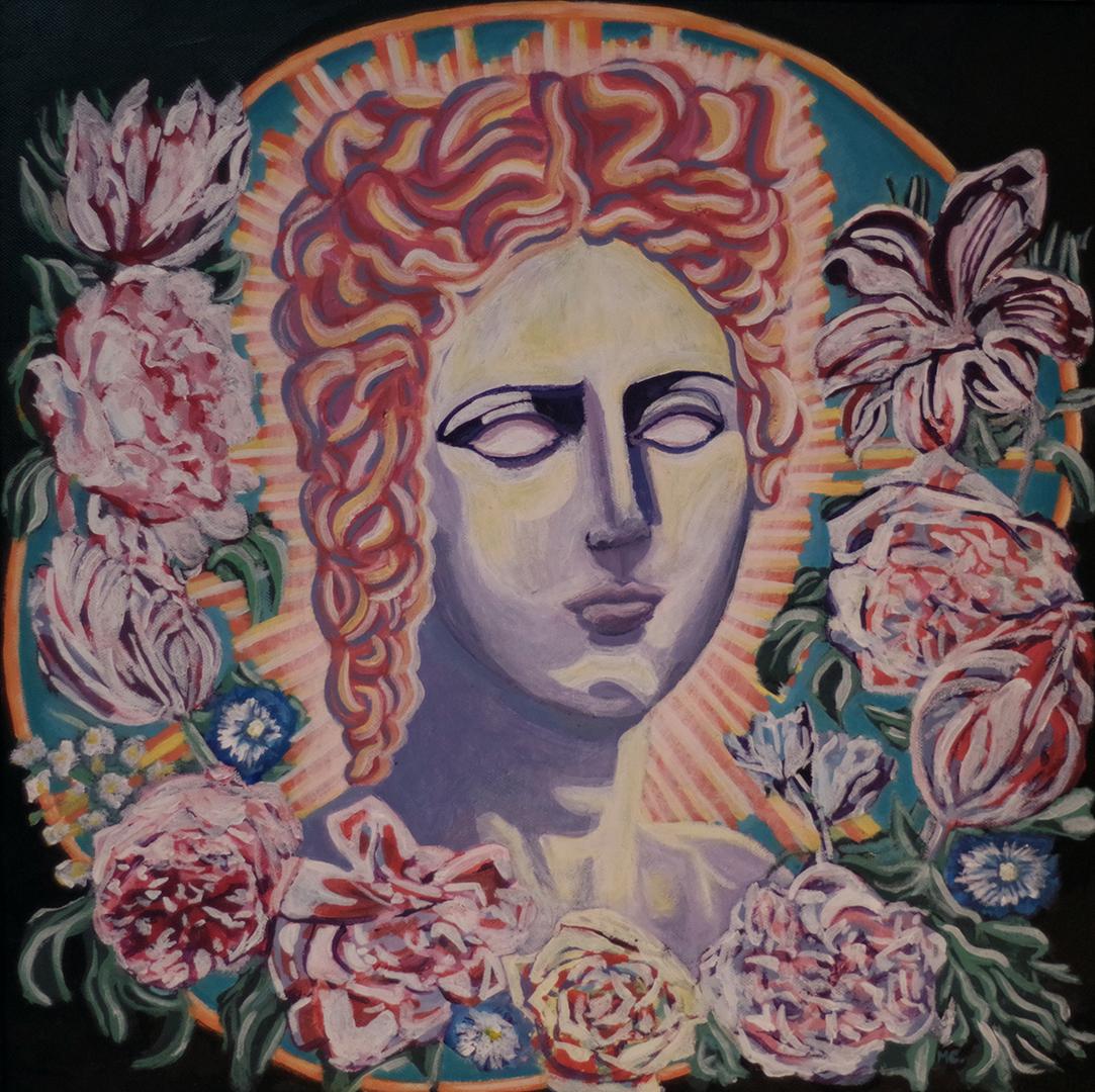 <h3>Aphrodite, acrylique sur toile, 50 x 50 cm, janvier 2019, Lille, France</h3><p>Aphrodite est la déesse de l'amour, des plaisirs et de la beauté dans la mythologie gréco-romaine. </p><p>Elle est assimilée à la saison printanière, c'est pourquoi j'ai choisi de peindre une couronne de fleurs autour de son visage, symbole de la fertilité et du renouveau. Ses yeux sans pupilles, accentuent le caractère surnaturel et inaccessible de la divinité. Ils font également référence aux statues de la Grèce antique représentant la déesse. Aphrodite est inexpressive, elle n'existe qu'à travers la reproduction infidèle de sa beauté légendaire, elle n'appartient qu'à l'imaginaire humain. Enfin, le tableau reprend les codes des icônes religieuses avec la présence d'un halo lumineux à l'arrière du buste, caractéristique de la représentation chrétienne du divin. Le mélange des styles renforce l'aspect contemporain de ce portrait.</p>