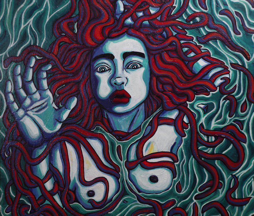 Femme dans l'eau, 100 x 65 cm, détail, par mathilde cognard, février 2020, Lille, France.