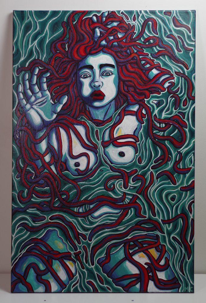 <h3>Femme dans l'eau, acrylique sur toile, 100 x 65 cm, février 2020, Lille, France</h3><p> Ce portrait a été crée en parallèle de lectures sur la légende d'arthur, il est inspiré par le personnage de la Dame du Lac. Ce tableau est aussi une représentation des sensations que l'on peut éprouver lorsque l'on ressent des émotions exacerbées. </p><p>Les rythmes des lignes créent un fort courant duquel le personnage n'arrive pas à s'extirper. Les longs cheveux du personnage féminin renforce l'impression qu'elle est piégée dans ce flux ininterrompu de lignes.</p>