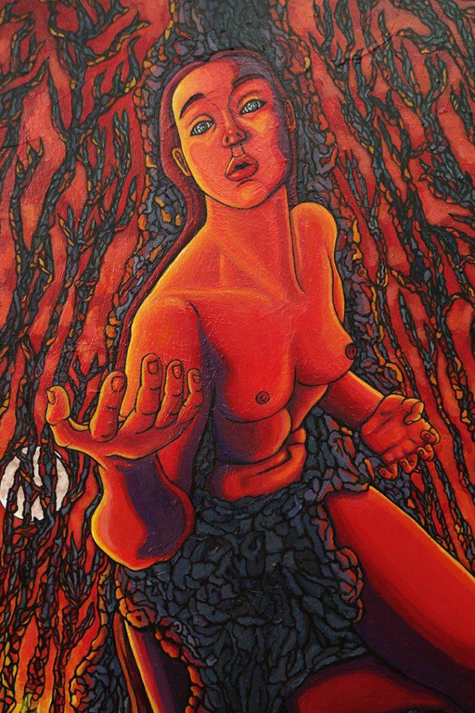 Feu en forêt, acrylique sur toile, 116 x 73 cm, mai 2020, Lille, France.