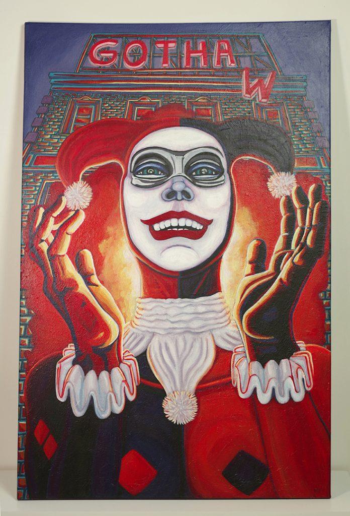 """<h3>Gotham city, acrylique sur toile, 115 x 75 cm, avril 2020, Lille, France</h3><p>    Harley Quinn est un personnage de comics emblématique, présente dans la culture populaire depuis les années 90 avec son apparition dans """"Batman, la série animée"""". </p>    <p> Bras droit du Joker, ce personnage féminin mélange les contradictions. Elle est considérée comme une super-vilaine mais aussi comme une super-héroïne. Elle paraît folle, délurée et dangereuse, mais elle est aussi touchante, comique et parfois pathétique.</p>  <p>  Ce qui m'a poussé à représenter ce personnage, c'est qu'on peut aisément s'assimiler à elle de par son caractère spontané. Comme nous, elle est débordante d'émotions peu ou pas dites.</p>"""