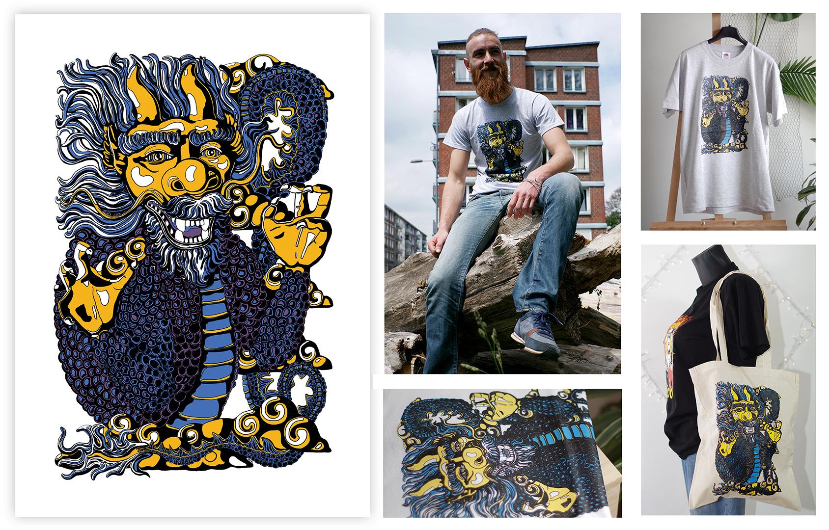 """<h3>Design le dragon & produits dérivés</h3><p>    """"Le dragon"""" est un design inspiré de mon tableau original du même nom.</p><p>    J'ai reproduis la créature sur tablette numérique, puis j'ai intégré uniquement 4 couleurs sur le dessin final afin qu'il puisse être imprimé en sérigraphie sur supports textiles. La sérigraphie est un procédé d'impression qui consiste à appliquer les couleurs une par une sur un médium. Le dragon a ensuite été tiré en 30 exemplaires par Don man shop, artiste sérigraphiste lillois, sur t-shirts et sacs en coton. Il a également été imprimé sur des stickers et des cartes de visite afin de promouvoir mes activités.</p>"""