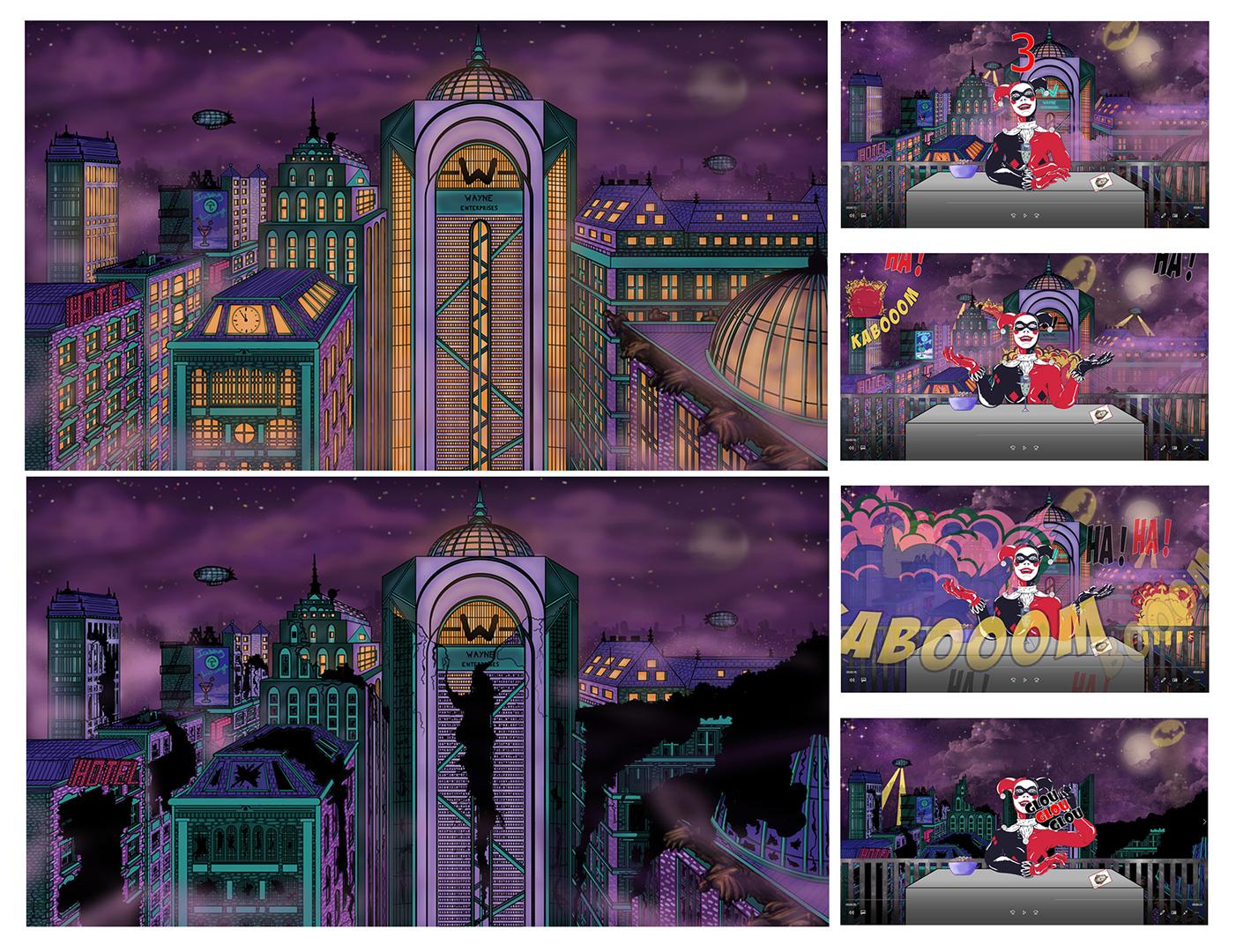 """<h3>Gotham city, travail collaboratif avec Quentin Chappe - The Flux Studio</h3><p>    Cette vue plongeante de la ville de Gotham, dont l'architecture et les couleurs sont directement inspirées de ma peinture originale """"Gotham city"""" , a été dessinée afin de compléter l'animation 2D de mon personnage """"Harley Quinn"""". L'illustration fait également référence à l'univers du comics Batman, avec la présence d'éléments comme l'immeuble Wayne ou encore l'Iceberg club. Ces dessins numériques ont été ensuite animés par Quentin Chappe – The Flux Studio.</p><p>    À travers son animation 2D, Quentin m'a permis de dépasser les limites de la toile en donnant vie aux éléments du décor tels que les lumières, les zeppelins, ou encore le Batsignal dans le ciel. Il a également représenté l'intégralité du déroulement de l'évènement central de mon tableau : l'explosion de la ville de Gotham par Harley Quinn. Quentin a ainsi accentué le caractère ambigü du personnage de mon tableau en exprimant l'innocence et la naïveté d'Harley Quinn par une gesticulation enfantine du personnage, sa folie par un rire machiavélique, et son caractère destructeur par l'explosion de la ville de Gotham. Le compte à rebours, le pop corn, le verre de champagne, ou encore les onomatopées exprimant le rire, renforcent l'effet comico-tragique de la scène. Il a également ajouté une référence au Joker puisque ce super-vilain est la cause directe du mépris de Harley Quinn pour Batman.</p><p>    Le résultat de ce travail collaboratif a été projeté dans la Gare saint sauveur pendant 2 jours, au cours du Vide dancing, marché créateur, en décembre 2019</p>"""