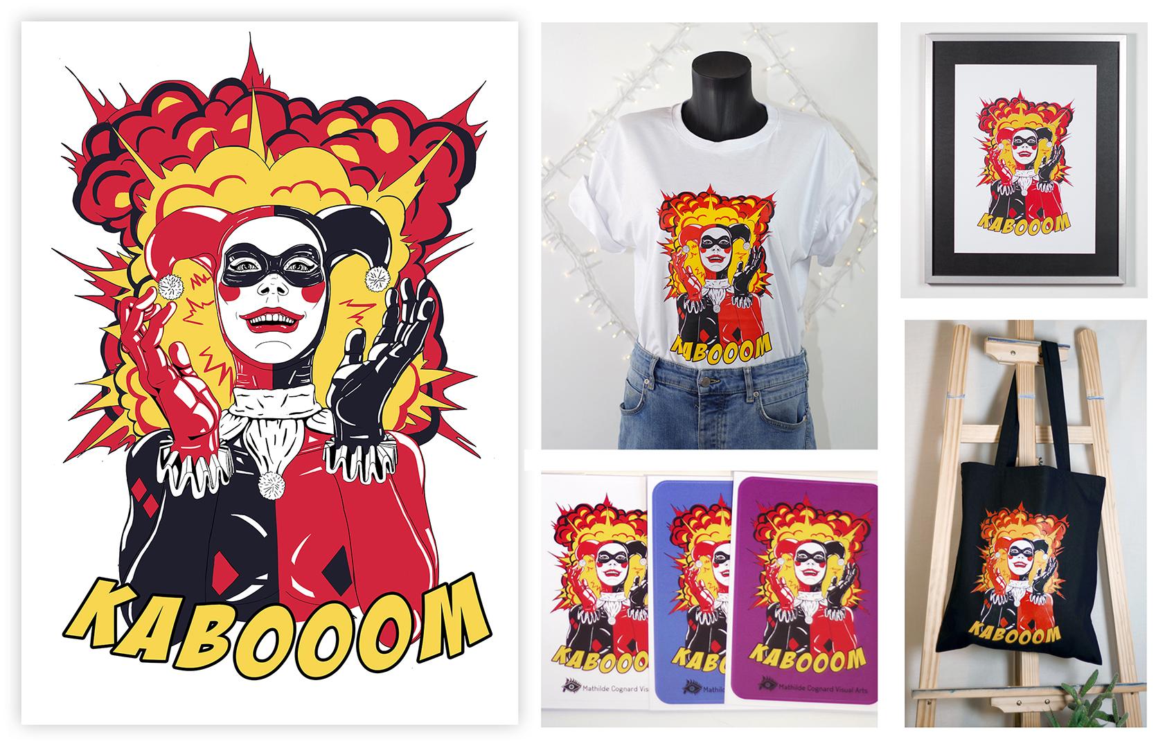 """<h3>Design Harley Quinn & produits dérivés</h3><p>    Ce graphisme est inspiré du tableau """"Gotham city"""" que j'ai produis l'année 2019/2020.</p><p>    J'ai redesigné complètement le personnage de ma toile à la tablette numérique, afin de pouvoir le faire sérigraphier en édition limitée. Dans le design final, j'ai ajouté une typographie inspirée des bandes dessinées, et l'onomatopée « Kabooom », afin d'accentuer l'effet comico-tragique de l'illustration. Ce dessin a été imprimé en série limitée sur t-shirts, vestes en jean et sacs en coton. J'ai également fait imprimer des stickers et des cartes de visite afin de promouvoir mes activités.</p>"""