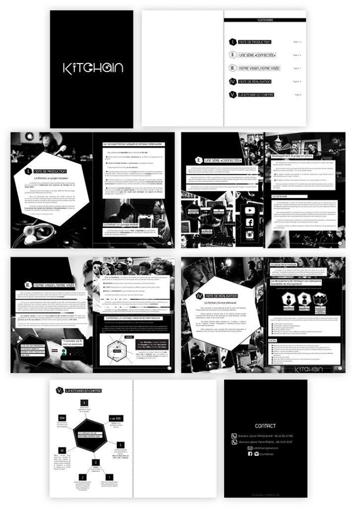 <h3>Mise en page de dossier pour la Kitchain</h3><p>    La Kitchain avait pour projet de mettre en page un dossier présentant le concept de l'association.</p><p>    J'ai choisi le noir et le blanc pour que le document reste sobre, moderne, et facilement lisible. Le contenu informatif est hiérarchisé grâce à des variations de typographies et de tailles, afin de faciliter la lecture.</p><p>    J'ai également crée des icônes, pour que le lecteur puisse visualiser les éléments clés du concept de la Kitchain.    Tout au long du dossier, j'ai intégré des images d'artistes participants et de tournages réalisés auparavant par l'association, afin d'illustrer les activités de la Kitchain et son expérience dans son domaine.</p>