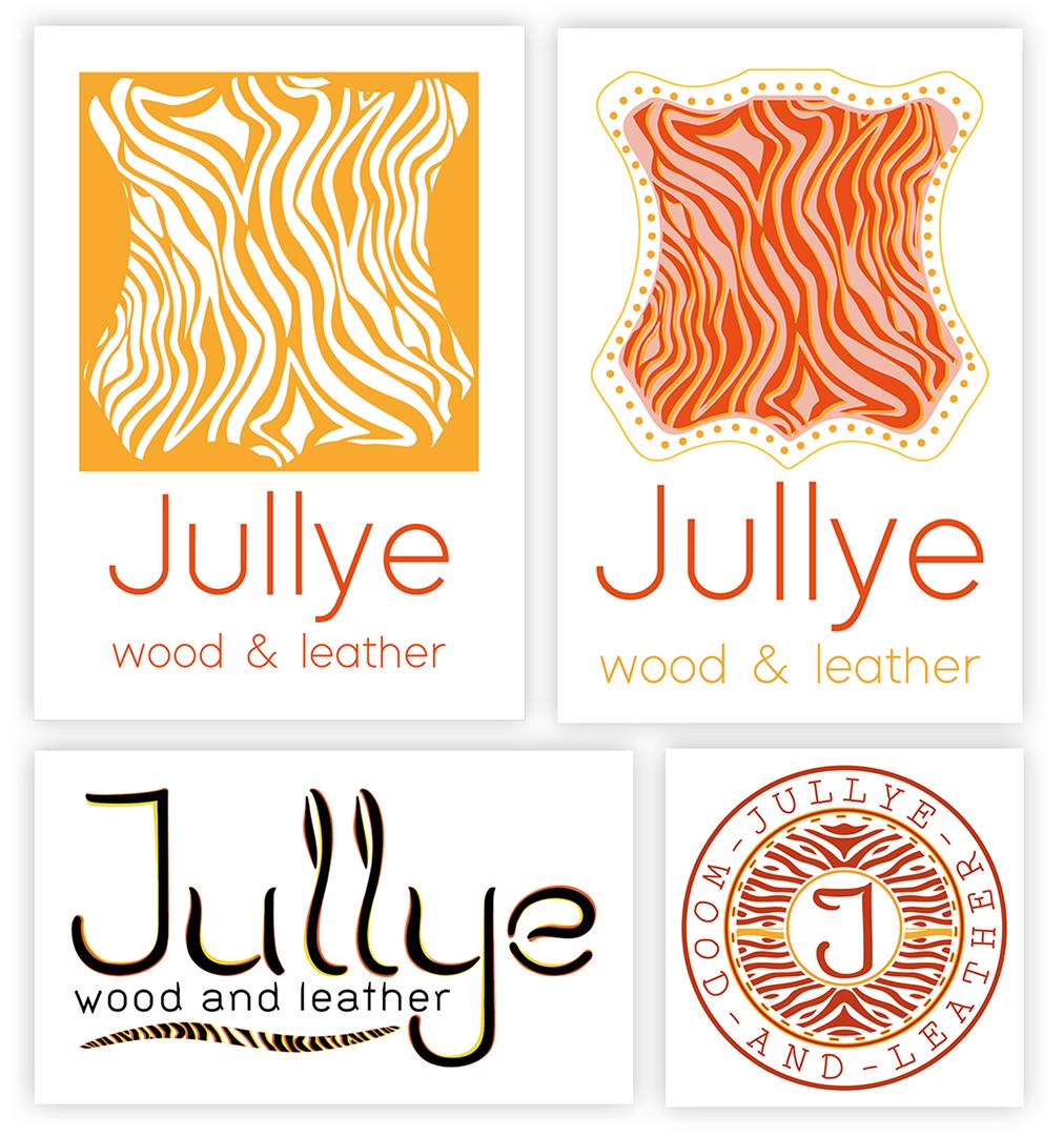 """<h3>Propositions de logotypes pour Jullyewoodandleather</h3><p>Propositions de concepts développés pour le logo de Jullyewoodandleather.</p><p>    La forme globale des deux logotypes en haut de la page est inspirée du symbole du cuir que l'on retrouve sur tous les accessoires composés de cette matière. Elle rappelle également la France (appelé aussi """"l'hexagone""""), pays où est localisée la marque. Le motif rythmique à l'intérieur des formes peut rappeler le bois, l'océan, le sable, ou encore les imprimés tigre et zèbre.    J'ai proposé une variation de ce logotype avec des contours en pointillés. On peut y reconnaître : soit les clous, soit les coutures sur les vêtements ou accessoires en cuir. Les couleurs rappellent le soleil et la chaleur caractéristique de la région sud ouest.</p><p>Le logo typographique en bas à gauche s'inspire des logotypes de marques de prêt à porter et d'accessoires. La typographie est courbe pour évoquer l'aspect """"animal"""" ou """"végétal"""". Des touches de couleurs orangées et jaunes évoquent le soleil, le cuir et le bois. Elles sont ajustées pour épouser la forme des lettres. Le bandeau en dessous de """"Jullye"""" crée un ensemble homogène, avec """"wood and leather"""", le nom de la marque devenant ainsi un logo à part entière. </p><p>Enfin, en bas à droite, j'ai mis en comparaison une des variations du logotype final choisi par Jullyewoodandleather. Le motif de lignes est présent sur toute la surface du logotype pour évoquer les sacs aux motifs imprimés de la ligne de produit Jullyewoodandleather.</p>"""