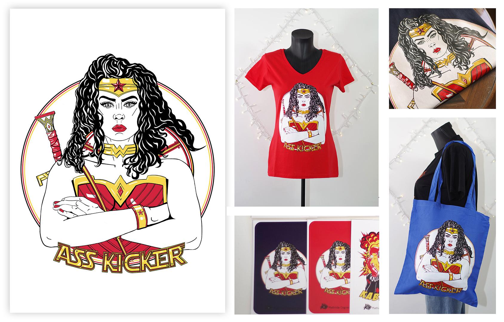 Graphisme, wonderwoman et produits dérivés, mathilde cognard visual arts