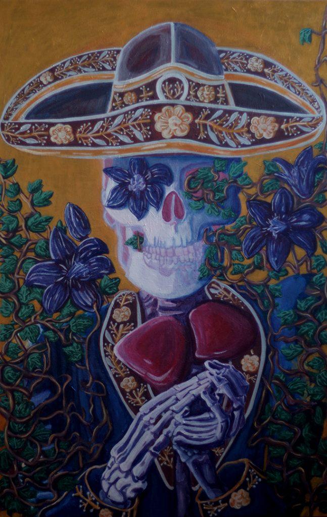 <h3>La mort applaudit, acrylique sur toile, 115 x 75 cm, mars 2019, Lille, France</h3><p>Cette vanité s'inspire de la fête des morts mexicaine. Alors que notre culture européenne nous contraint au deuil et au chagrin dès que l'on évoque le trépas, au Mexique, on rend hommage aux morts en organisant chaque année une fête colorée et joyeuse.</p>