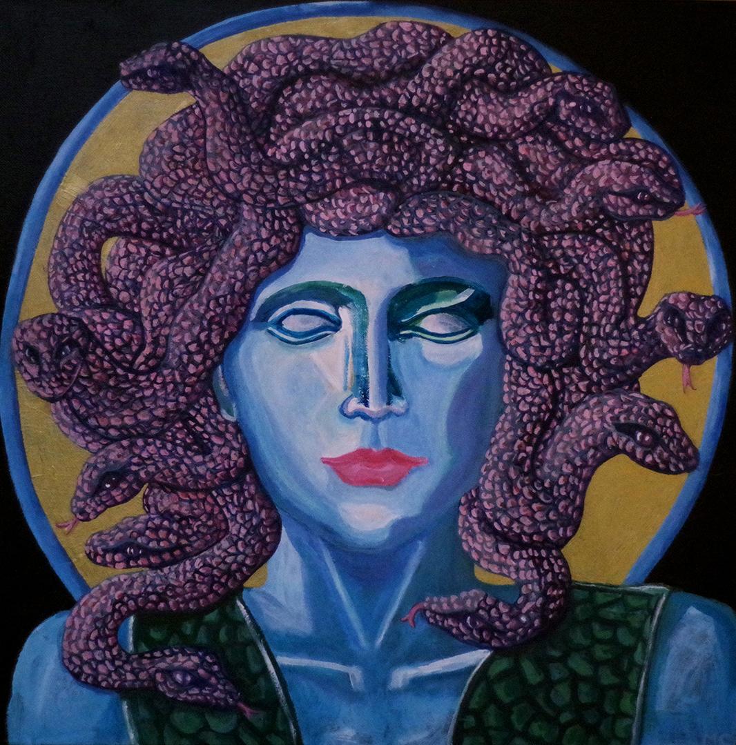 <h3>Méduse gorgone, acrylique sur toile, 50 x 50 cm, mars 2019, Lille, France</h3><p>Méduse est une des trois Gorgones faisant parti des récits de la mythologie gréco-romaine.Elle détient le pouvoir de pétrifier les humains en les regardant dans les yeux. Ce portrait est un contre-pied à ce récit mythologique puisque la Méduse que j'ai représenté ne peut pas voir, elle ne peut croiser aucun regard, son visage est impassible comme les statues grecques.</p>