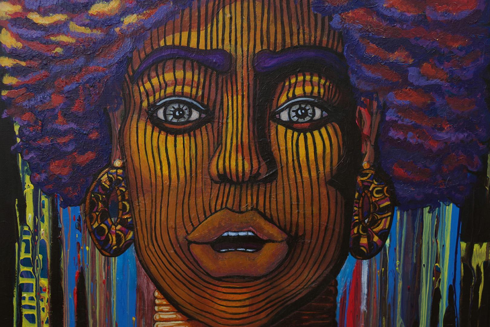 Portrait de femme, acrylique sur toile, 100 x 65 cm, septembre 2019, Lille, France