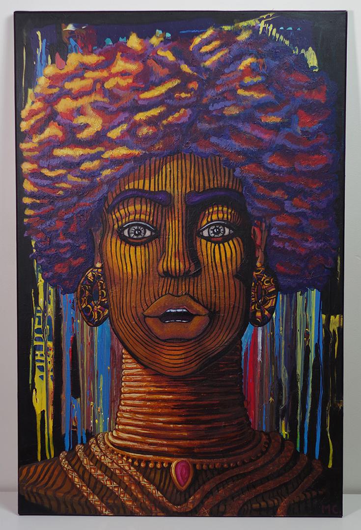 <h4>Portrait de femme, acrylique sur toile, 100 x 65 cm, septembre 2019, Lille, France</h4><p>Ce portrait est inspiré par les têtes d'Ifé, découverte au Nigéria dans les années 30. Lorsque ces magnifiques sculptures ont fait leur apparition en occident, les occidentaux ont douté de leurs origines attribuant leur création à une colonie grecque. </p><p>Il se trouve qu'aujourd'hui ces sculptures ont bien été reconnues comme étant de manufacture Yoruba. </p>