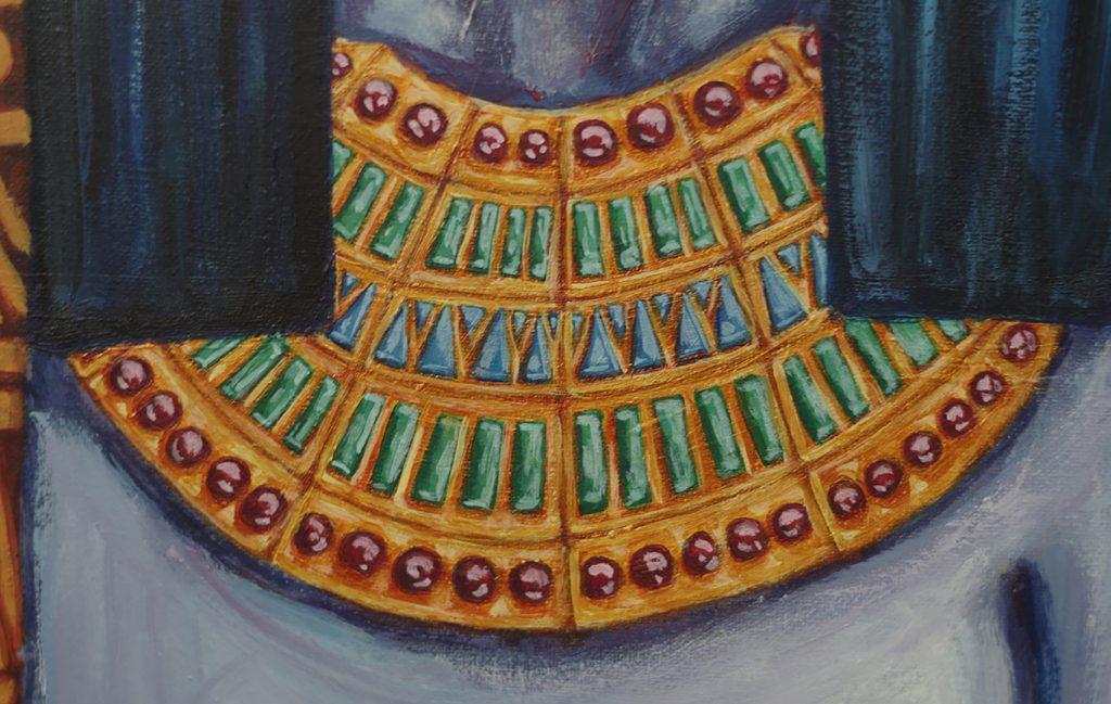 Sans fard, Sekhmet, 120 cm x 40 cm, photo 2 détail collier, par mathilde cognard, septembre 2019, Lille, France