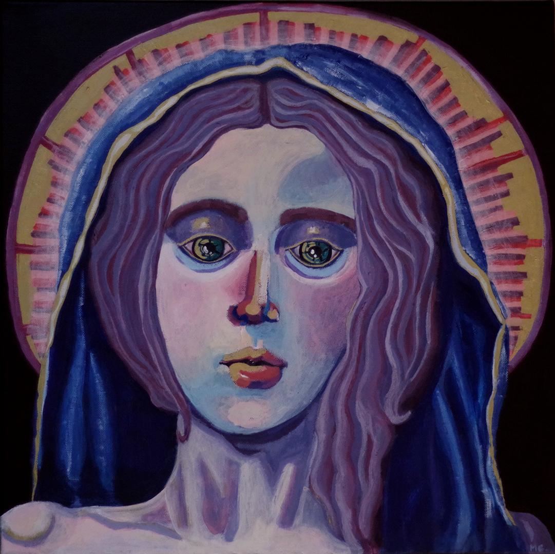 <h3>La Vierge Marie, acrylique sur toile, 50 x 50 cm, janvier 2019, Lille, France</h3><p>Ce tableau est une représentation de la Vierge Marie inspiré des icônes religieuses. La couleur dorée dans le halo autour de son visage en fait explicitement référence. Les yeux du personnage sont cernés, le personnage devient aussi mortel que nous-même et donc presque accessible. La vierge ne dispose plus de cette aura divine qu'on lui attribue habituellement. Cette peinture est une réflexion sur les représentations idéalisées des personnages bibliques qui font parti intégrante de la culture occidentale chrétienne.</p>