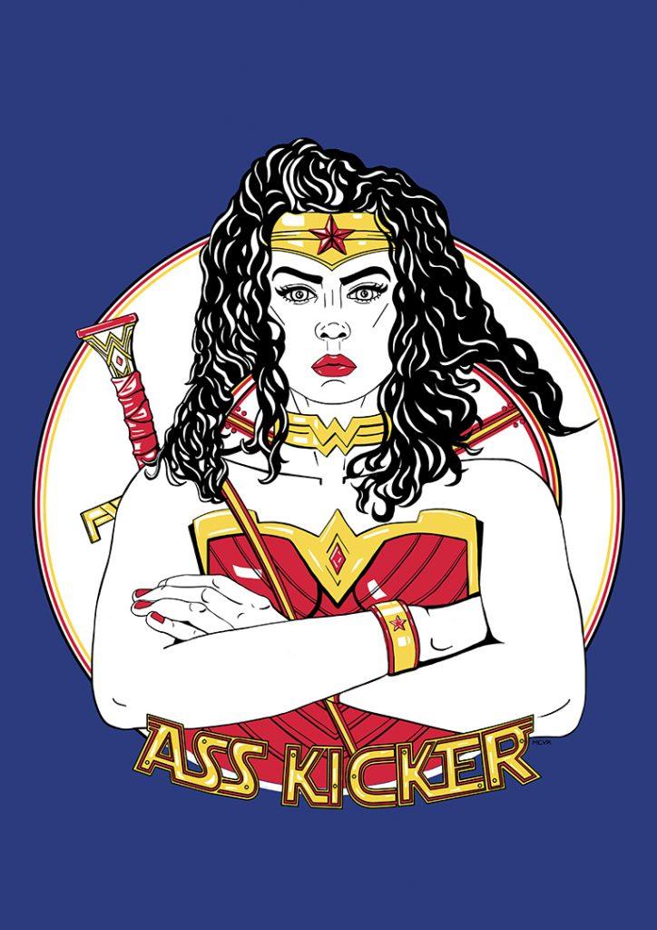 dessin numérique Wonder woman finale fond bleu