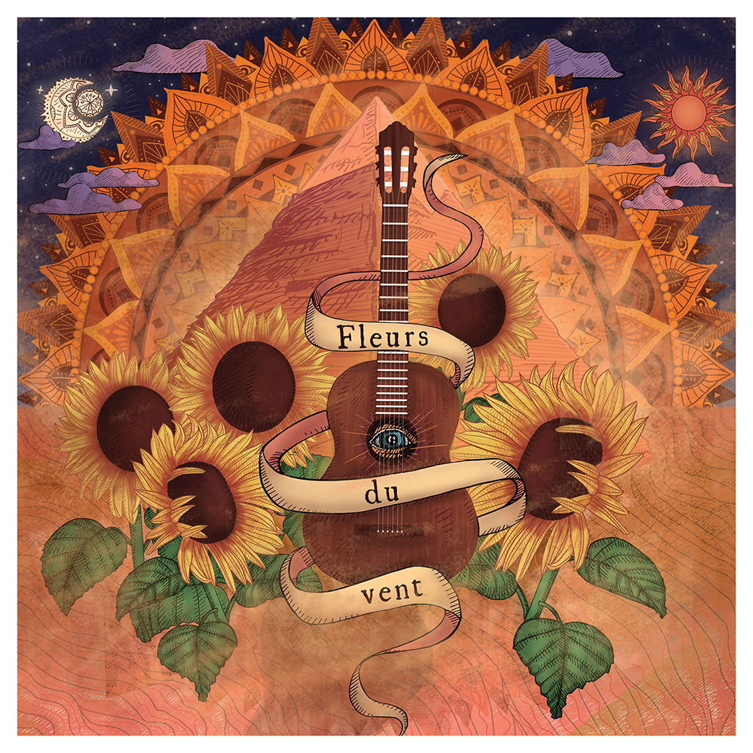"""<h3> Pochette d'album """"Fleurs du vent""""</h3><p>Pochette d'album, réalisée à la tablette graphique, pour le duo de guitaristes Allan et Kam ouch.</p><p>""""Fleurs du vent"""" est composé de créations originales dans le style musical gipsy. J'ai conçu cette illustration en écoutant l'album. </p><p> Pour évoquer le caractère vivant et chaleureux de la musique, j'ai utilisé un camaïeu de couleurs chaudes et j'ai cherché à représenter le mouvement dans le visuel. """"Fleurs du vent"""", est ainsi inscrit dans un ruban qui s'envole, des nuées de sable dansent autour d'une guitare et de tournesols, fleurs symbolisant le soleil et la chaleur.<p> La pochette d'album s'inspire également de l'univers ésotérique à travers des éléments comme le ciel étoilé, le mandala coloré au centre de l'image, ainsi que la pyramide et l'oeil à l'intérieur de la guitare. Cette pochette d'album est une invitation à un voyage musical et spirituel.</p><p> En écoute sur youtube : https:youtu.beqeEAeVsXkkY. </p>"""