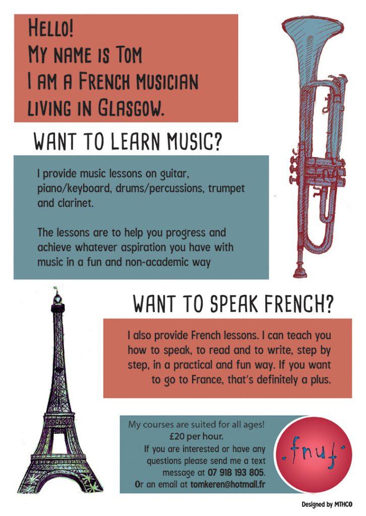 Conception de flyer pour des cours particuliers de musique et de français