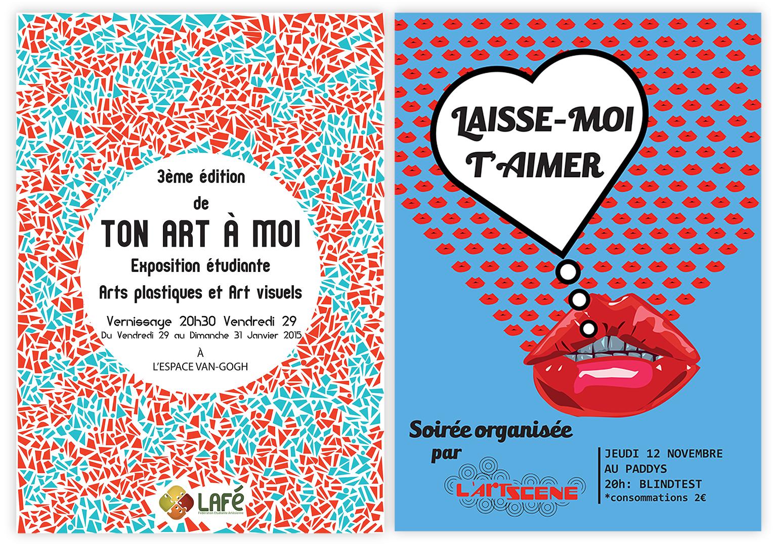 <h3>Conception d'affiches pour des associations étudiantes</h3><p>    Conception d'affiches pour des associations étudiantes de la ville de Arles dans le sud de la France.</p><p>    Ton art à moi est un projet associatif promouvant des artistes locaux dans le domaine des arts visuels. J'ai choisi de représenter un rythme de formes évoquant les mosaïques, art décoratif  très présent dans le sud. La vibrance des couleurs complémentaires rouge et verte est destinée à accompagner le regard du spectateur vers le centre de l'affiche, où sont intégrées les informations relatives à l'évènement.</p><p>    Laisse-moi t'aimer était une soirée organisée par le Bureau des étudiants de la faculté. Elle avait pour but de rassembler les étudiants autour d'un Blindtest sur le thème de l'amour. J'ai choisi d'évoquer ce thème à travers la représentation d'une multitude de bouches, symbole de la romance. Les couleurs primaires rouges et bleues électriques de l'affiche ainsi que la présence d'une bulle blanche cernée de noire, sont inspirés de Roy Lichtenstein, un des artistes emblématique du mouvement pop art. Les couleurs vives complémentaires vibrent pour attirer le regard du public.</p>